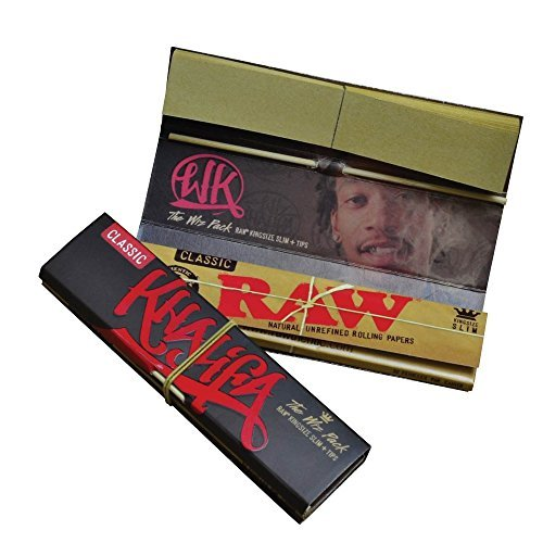 RAW Classic Wiz Khalifa Connoisseur King Size Slim Rolling Papers & Tips - The Wiz Pack ()