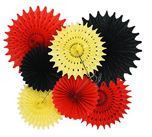Qian's Party Mickey Mouse Party Supplies 1st Birthday 7pcs Yellow Red Black Tissue Paper Fans for Mickey Mouse 1st Birthday Decorations/Mickey Mouse Party Decorations -