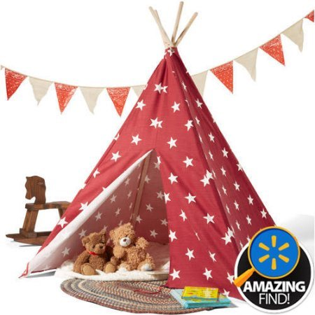 Children's Teepee Tent, Red/White Stars (Play Dough Disney Cars compare prices)