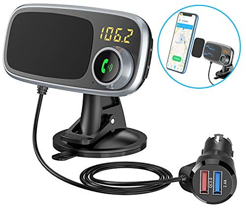 Comsoon Bluetooth FM Transmitter & Magnetic Phone Car Mount, 2 in 1 Car Kit with Quick Charge 3.0 + 5V/2.4A Smart IC Dual USB Car Charger, 360° Rotatable Dashboard Cell Phone Holder
