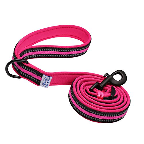 by ARIKON, Adjustable Length - Reflective Strips - Soft Padded Leash, Super Comfortable Handle for Walks, Perfect Leash for Medium and Large Dogs (Hot Pink) (Leash Clip Strip)