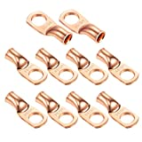"""Ampper Heavy Duty Copper Wire Lugs, UL Eyelets Ring Crimp Copper Terminal Connectors for Battery Cable Ends and More (1/0 Awg, 3/8"""" Ring, 10 Pcs)"""