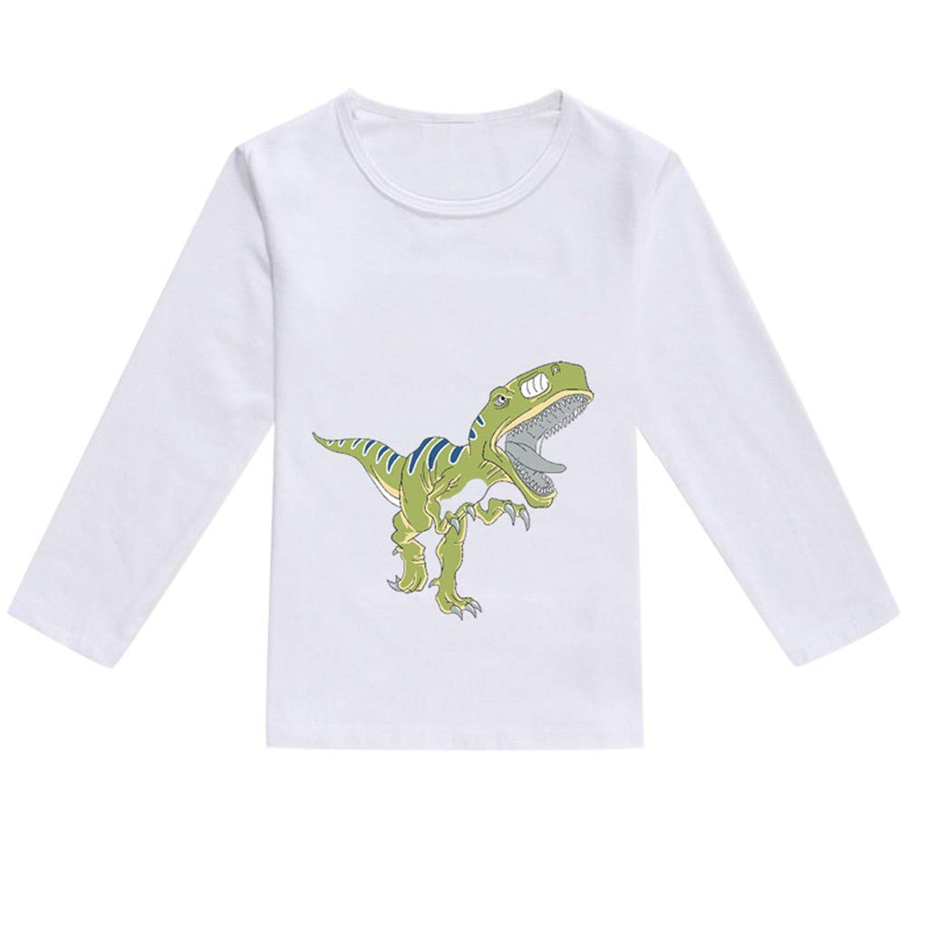 NUWFOR Toddler Baby Kids Boys Girls Spring Dinosaur Print Tops T-Shirt Casual Clothes(Green,18-24 Months)