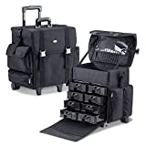 MUA LIMITED Professional Beauty Makeup Artist Case on Wheels, Soft Cosmetic Case with Trolley and Storage Drawers, Side Compartments and Brush Holders, ULTIMATE Series - Black