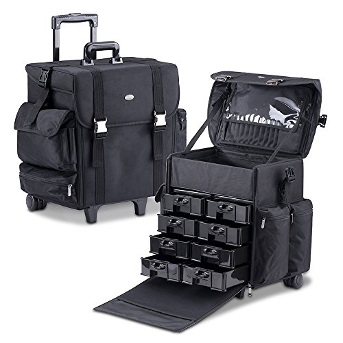 MUA LIMITED Professional Beauty Makeup Artist Case on Wheels, Soft Cosmetic Case with Trolley and Storage Drawers, Side Compartments and Brush Holders, ULTIMATE Series - Black by MUA Limited