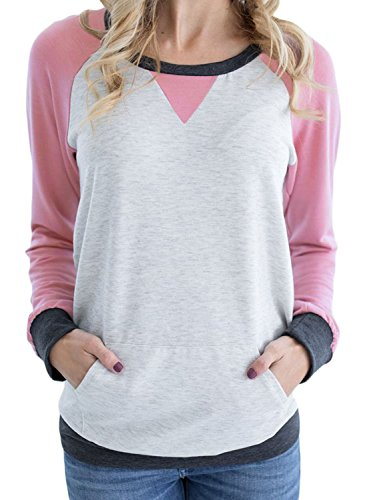 (Podlily Women's Raglan Long Sleeve Patch Elbow Sweatshirt Top X-Large Pink)