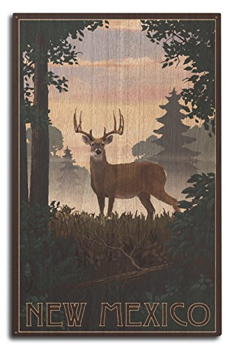 (Lantern Press New Mexico - Deer and Sunrise (10x15 Wood Wall Sign, Wall Decor Ready to Hang))