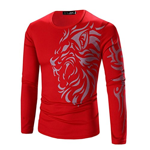 Price comparison product image Ninasill Mens Autumn And Winter Fashion Printing Men's Long-sleeved T-shirt (XL, Red)
