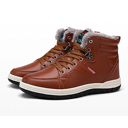 Highdas Shoes Boots Shoes Shoes Men Lace Black Flat with Fur Snow Brown 39 48 Warm Worker Up Boots PU Lined Winter Leather Brown Sneakers Dark Boots Boots Blue Outdoor rcIrT1Zq