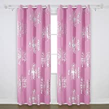 Deconovo Thermal Insulated Blackout Curtains Foil Print Flower Design Curtains Window Panels For Living Room Pink 52W by 84L Inch One Pair
