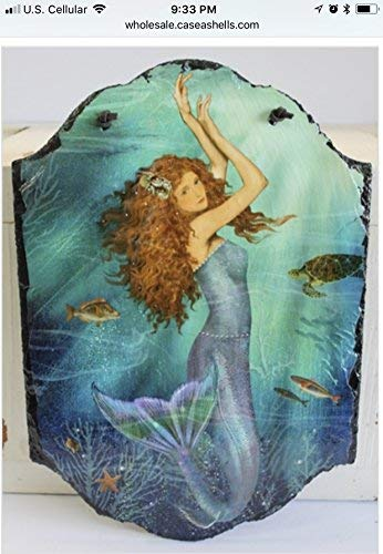 (Timeless by Design Magical Mermaid Slate Hanging Wall Art)