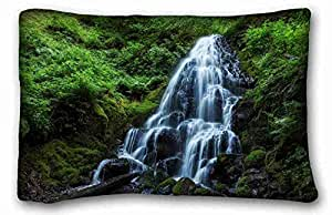"Custom Characteristic ( Nature evening waters grass images lake ) Pillowcase Standard Size 20""X30"" Design Pillow Case Cover suitable for Queen-bed PC-Orange-38437"