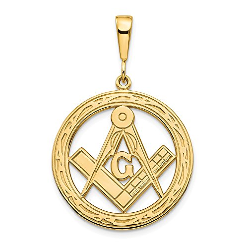 14k Yellow Gold Large Masonic Freemason Mason Pendant Charm Necklace Career Professional Man Fine Jewelry Gift For Dad Mens For Him