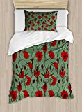 Poppy Twin Size Duvet Cover Set by Ambesonne, Floral Arrangement with Abstract Ballerina Dance Themed Botanical Print, Decorative 2 Piece Bedding Set with 1 Pillow Sham, Green Chesnut Brown Red