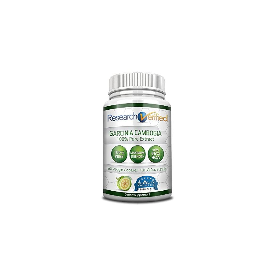 Garcinia Cambogia Pure Extract 95% HCA (Top Proven Potency) by Research Verified All Natural Appetite Suppressant and Weight Loss Supplement 100% Money Back Guarantee!
