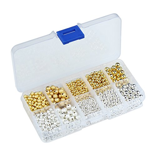 (Linsoir Beads 1600 pcs Silver Plated Gold Plated Stardust Smooth Round Beads 3mm 4mm 6mm Mixed Lot Value Pack Box Set)
