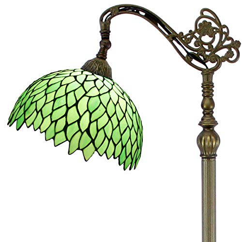 Tiffany Style Reading Floor Lamp Green Wisteria Table Desk Arched Lighting H64 Inch E26 Stained Glass Lampshade for Living Room Antique Desk Beside Bedroom S523 WERFACTORY (Lamp Tiffany Standing Floor)
