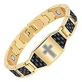 Men's Christian Cross Titanium Magnetic Bracelet with Black Carbon Fiber by Willis Judd