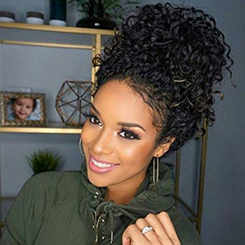 MS.ILSA Curly 360 Lace Frontal Wig Pre Plucked with Baby Hair Brazilian Remy 360 Human Hair Wigs for Black Women 150% Density Natural Color 18 inches