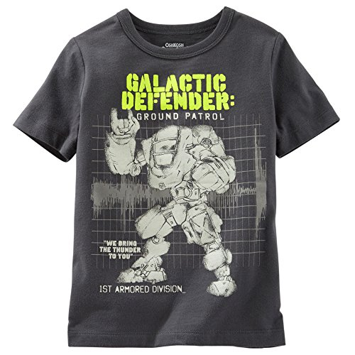 "Price comparison product image Oshkosh Boy's S / S ""Galactic Defender"" Glow in the Dark Tee; Grey (4 Toddler)"