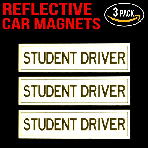 reflective student driver magnets for car set of 3 11street malaysia others. Black Bedroom Furniture Sets. Home Design Ideas