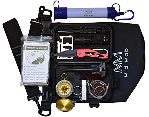 Piece Camping Set 12 (Mid Mab Survival Kit (12-Piece Set) Ultimate Tactical Gear | Camping | Hiking | Emergency | Water Filter Straw, Knife, Flashlight, Fire Starter, Compass, Wire Saw, Dry Bag)