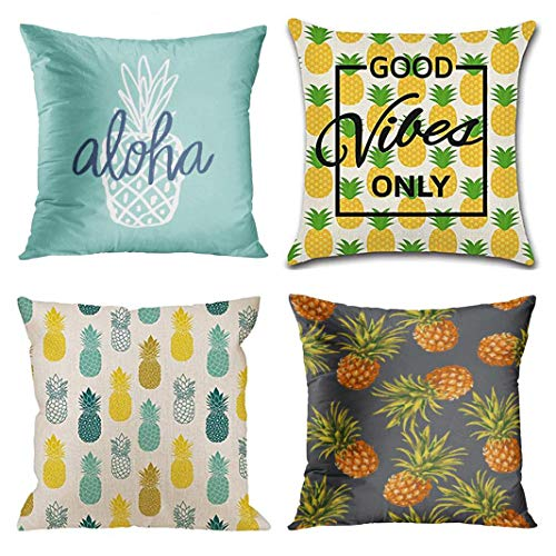Emvency Set of 4 Throw Pillow Covers Aloha Pineapple Pattern Vintage Blue Cute Girl Waist Good Only Decorative Pillow Cases Home Decor Square 18x18 Inches Pillowcases -