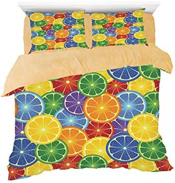 Colorful Slices of Orange Tropical Fruit Rainbow Color Fun Artful Home,3D Printed in Flannel Duvet Cover Set,Decorated on a 6ft Bed,4 Piece Bedding Set,King Size,Yellow Blue Green
