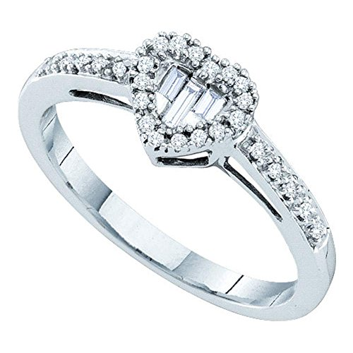 (Jewels By Lux 14kt White Gold Womens Round Baguette Diamond Heart Cluster Ring 1/6 Cttw Ring Size 7)