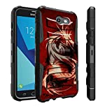 Untouchble Case for Galaxy J7 Sky Pro Case, Galaxy J7 Perx Case, J7 V Case, J7 Halo Case [Heavy Duty Clip] Combat Shockproof Two Layer Belt Clip Kickstand Cover Protector Rugged - Red Dragon