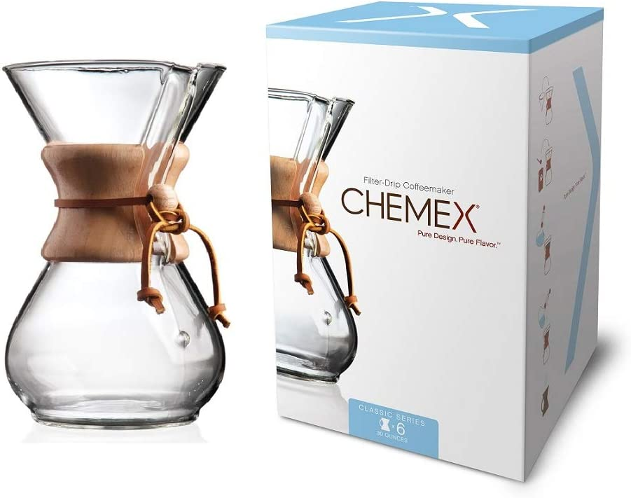 Chemex Classic Series, Pour-over Glass Coffeemaker, 6-Cup – Exclusive Packaging