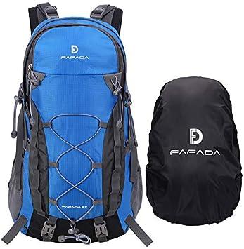 Fafada 40L Unisex Mochila de Senderismo Viaje Marcha del Deporte Casual Escalada Trekking con Cubierta de Lluvia Impermeable Azul