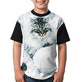 Cat In Snow Youth's Casual Print Undershirt Tees Short Sleeve Comfortable Raglan Tees Tops