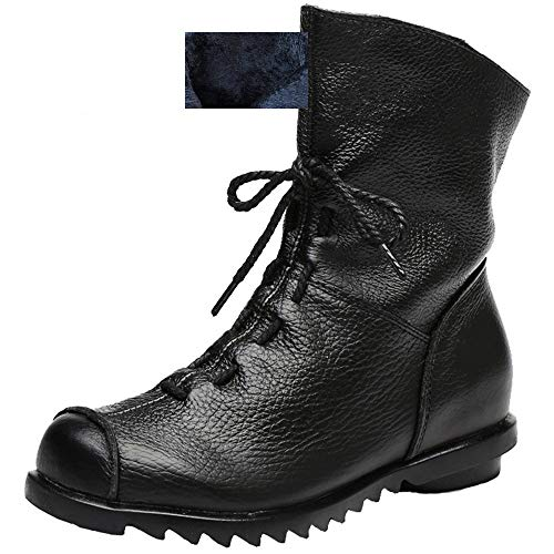 Womens Genuine Leather Casual Soft Flat Boots (Leather Lined Combat Boots)