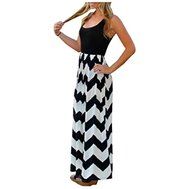 Aifer Damen Sommerkleid Kleider Maxikleid Streifen Schulterfrei Rundhals  High Waist Lang Kleid Partykleid