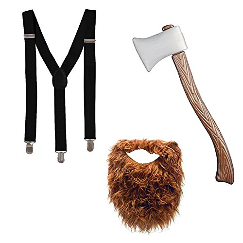 Tigerdoe Lumberjack Costume - 3 Piece Costume Set - Lumberjack Party Accessories - Costume Dress Up Set Black and Brown]()