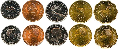 Tanzania 5 UNC Coins Set 5 SENTI - 1 SHILINGI 1966 Collectible Coins to Your Coins Album, Coin Holders OR Coin Collection