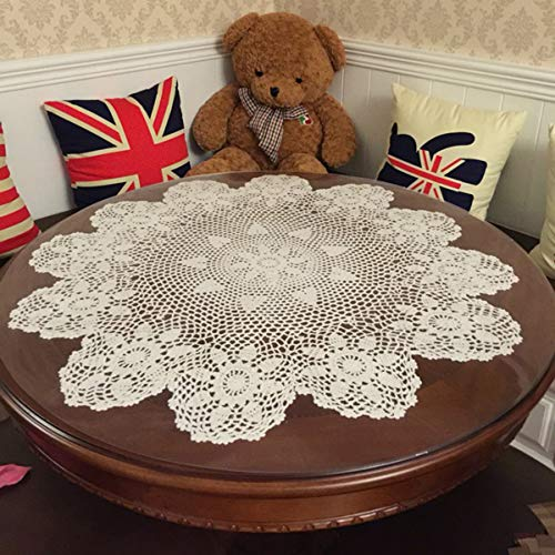 - Damanni Beige Cotton Handmade Crochet Lace Tablecloth Doilies,Round,31 Inch