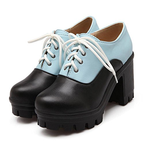 Fashion Bootie Women KemeKiss Heel Autumn Blue Ankle Chunky Pumps RSwvfqxT