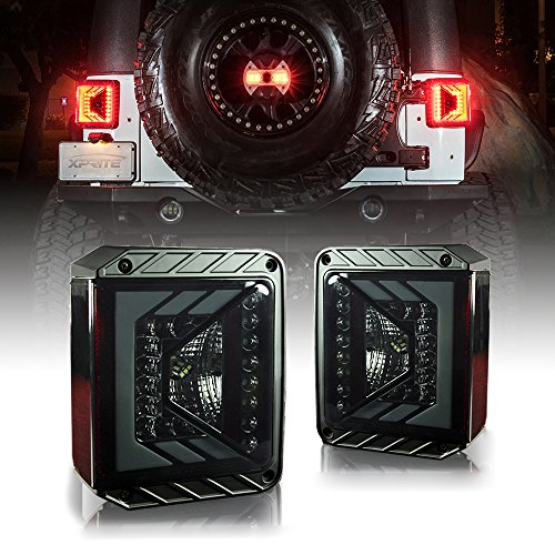 Xprite LED Tail Lights for Jeep Wrangler JK JKU 2007 – 2017 w/ Smoke Lens Brake Taillights Rival Series – (DOT APPROVED)
