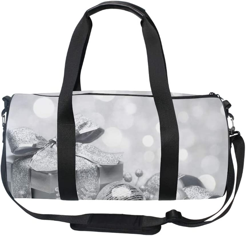 Christmas Silver Gym Duffle Bag Drum tote Fitness Shoulder Handbag Messenger Bags