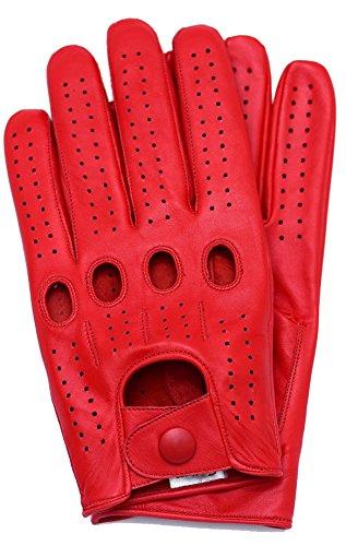 Riparo Genuine Leather Full-finger Driving Gloves (Medium, Red)