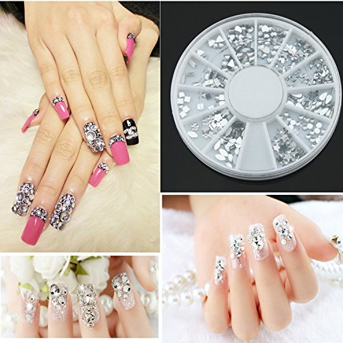 YARUIE High Quality Manicure 3D Nail Art Decorations Wheel With Silver Metal Studs Premium Quality Gemstones In 12 Different Shapes (Premium Gemstones Quality)