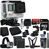 GoPro HERO4 Black Edition Camera HD Camcorder With Deluxe Carrying Case + Head Strap + Chest Strap + Suction Cup Mount +Monopod + Gripster Flexible Tripod + 32GB SDHC MicroSD Memory Card Complete Deluxe Accessory Bundle