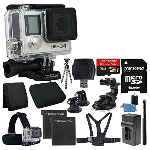 GoPro HERO4 Black Edition Camera HD Camcorder With Deluxe Carrying Case + Head Strap + Chest Strap + Suction Cup Mount +Monopod + Gripster Flexible Tripod + 32GB SDHC MicroSD Memory Card Complete Deluxe Accessory Bundle by PHOTO4LESS