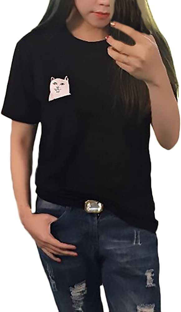 Camisetas Mujer Verano Manga Corta Cuello Redondo T-Shirt Ropa Fiesta Modernas Lindo Divertidas Gatos Patrón Moda Casual Camiseta Tops (Color : Black1, Size : XS): Amazon.es: Ropa y accesorios