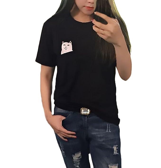 Camisetas Mujer Verano Manga Corta Cuello Redondo T-Shirt Lindo Divertidas Gatos Patrón Moda Joven Bastante Casual Camiseta Tops Women: Amazon.es: Ropa y ...