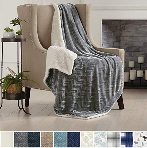Home Fashion Designs Premium Reversible Two-in-One Berber and Sculpted Velvet Plush Luxury Blanket, Cozy, All-Season Sherpa Throw Blanket Brand. (Luxury Throw Blanket)