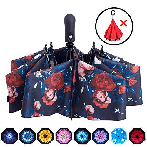 Open Folding Umbrella - Fidus Inverted Reverse Sun&Rain Car Umbrella Large Windproof Travel UV Umbrella for Women Men - Auto Open Close(Roses-1)