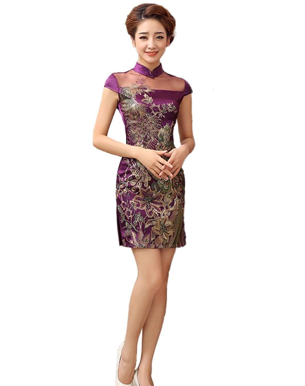 JTC Women's Phoenix Embroidered Lace Wedding Dress Chinese Short Qipao Cheongsam